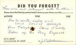 Did You Forget? Bates Library Postcard