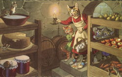 Dressed Cats in Cellar