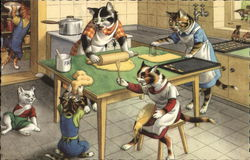 Dressed Cats in Kitchen
