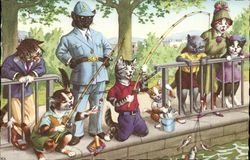 Dressed Cats Fishing