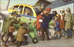 Cats Arriving Off Small Plane