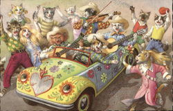Hippie Cats in Painted Car
