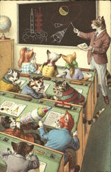 Dressed Cats in Classroom