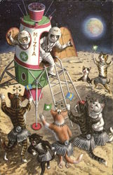 Dressed Cats on the Moon