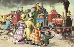 Dressed Cats Greeting Train