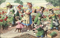Dressed Cats in the Garden