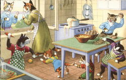 Dressed Cat Family in Kitchen