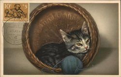 Kitten and Yarn in Basket