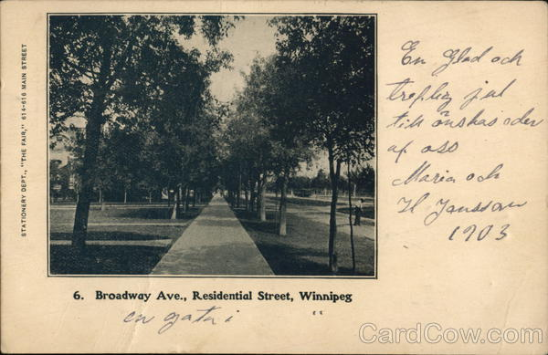 Broadway Avenue, Residential Street Winnipeg Canada