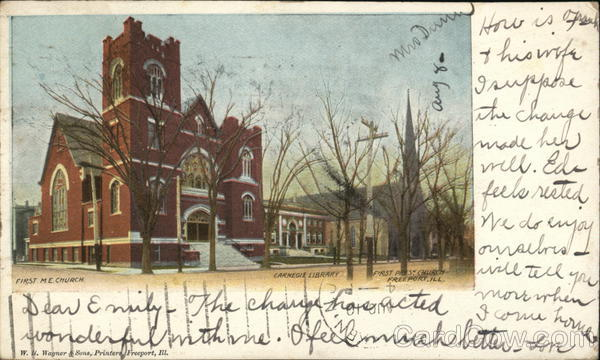 First M.E. Church, Carnegie Library Freeport Illinois