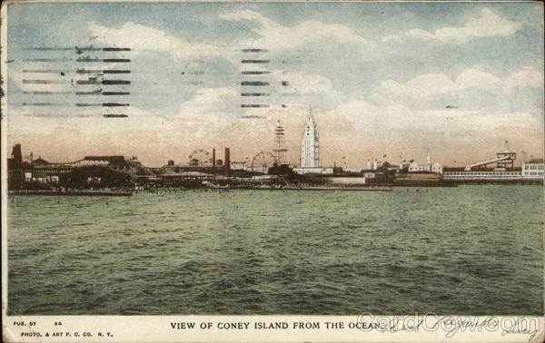 View of Coney Island from the Ocean New York
