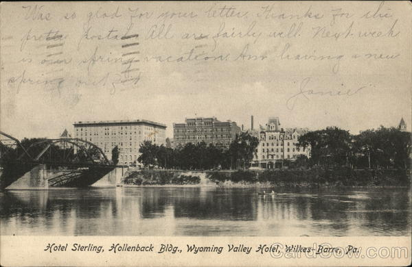 Hotel Sterling, Hollenback Bldg., Wyoming Valley Hotel Wilkes-Barre Pennsylvania
