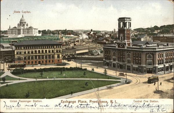 Exchange Place, Union Passenger Station & Central Fire Station Providence Rhode Island