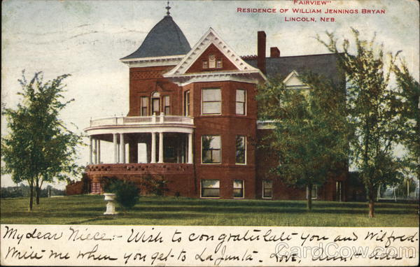 Fairview Residence of William Jennings Bryan Lincoln Nebraska