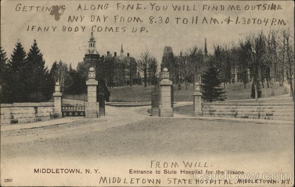 Entrance to State Hospital for the Insane Middletown New York