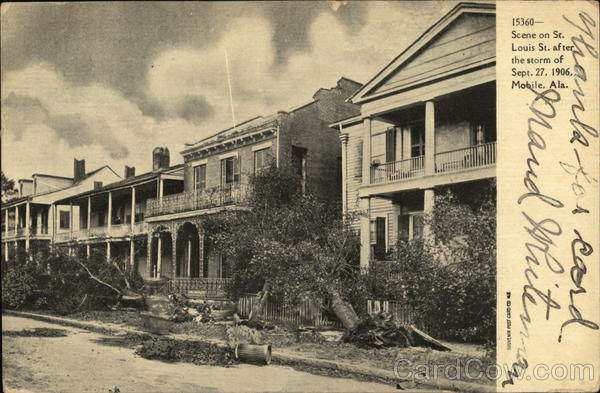 Scene on St. Louis Street After the Storm of Sept. 27, 1906 Mobile Alabama