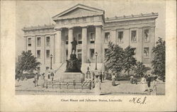 Court House and Jefferson Statue Postcard