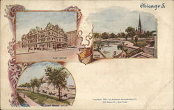 Post Office, Union Park and Lake Shore Drive Postcard