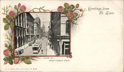 Olive St., from Fourth West - Greetings from St. Louis