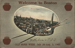 Aerial View of City - Welcome to Boston - Old Home Week July 28-Aug. 3, 1907