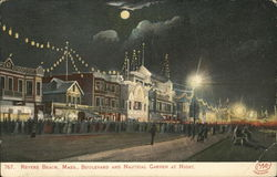 Revere Beach, Mass., Boulevard and Nautical Garden at Night