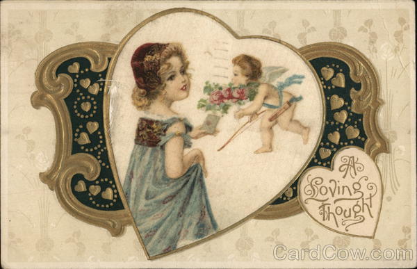 A Loving Thought Cupid Woven Silk