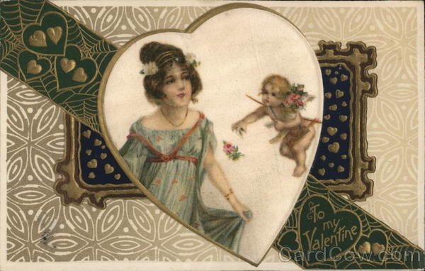 To My Valentine Cupid Woven Silk