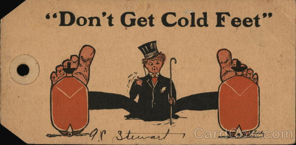Don't Get Cold Feet - Luggage Tag Postcard Comic, Funny