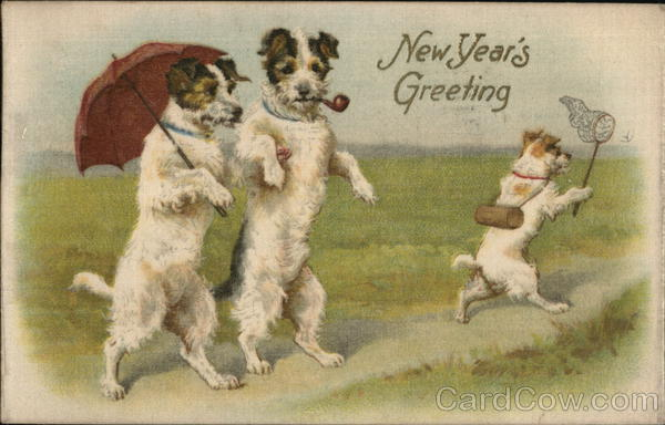 New Year's Greeting Dogs Woven Silk