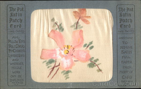 Pink Flowers with Green Leaves on Gold Background Silk & Fabric Applique