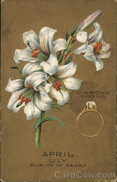 April Bunch of White Lilies Near Diamond Ring Birthday