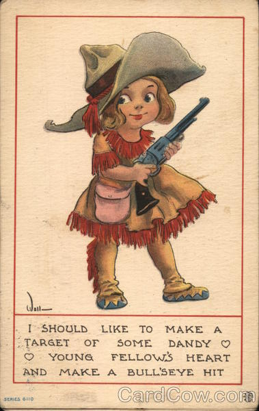 Cowgirl Caricature With Pistol Bernhardt Wall Cowboy Kids