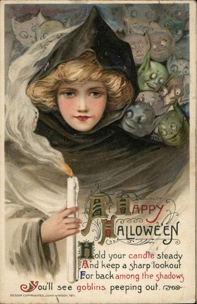 Girl with Candle and Goblins Samuel L. Schmucker Halloween