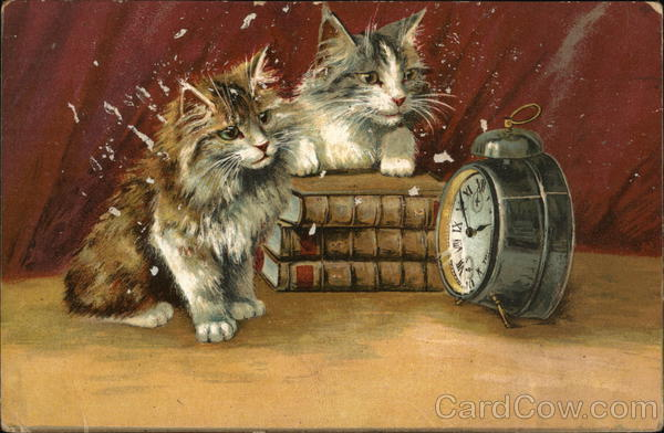 Kittens and Alarm Clock Maurice Boulanger Cats