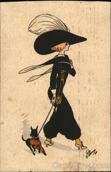 A Woman Wearing Black walking her dog. Women