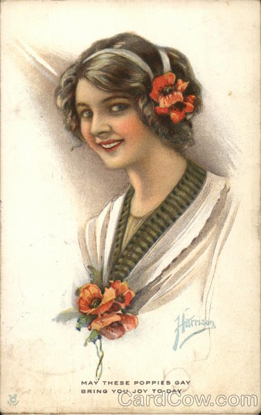 Young Woman Wearing Orange Poppy Flowers Harrison Women