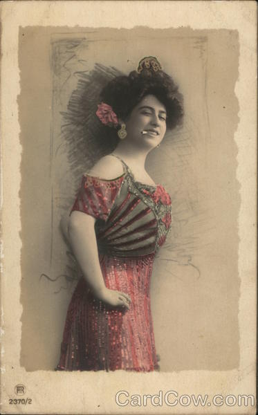 Woman in Red and Green Dress with Cigarette in Mouth