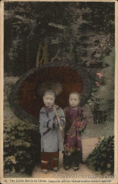 Two Young Girls with Large Parasol China