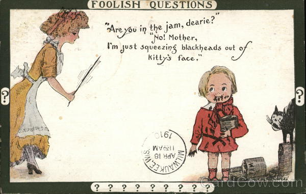 Woman Asking Question of Child with Messy Face Comic, Funny