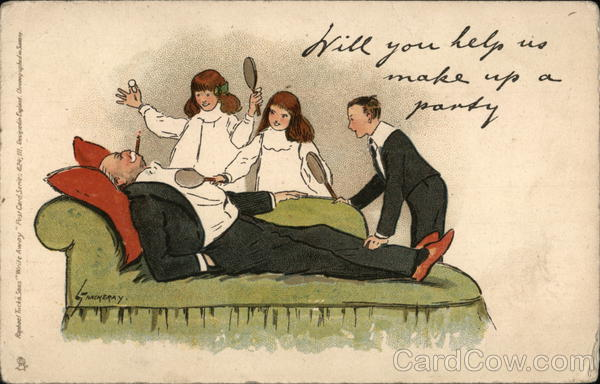 Three Youngsters with Paddles Talking to Older Gentleman Reclining
