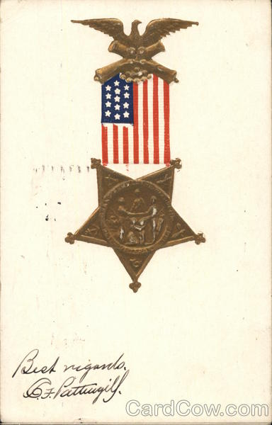 Military Medal with U. S. Flag and Eagle Patriotic