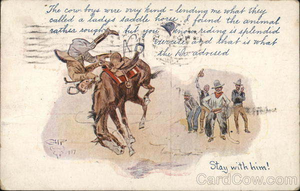 A Cowboy being Thrown from a Horse Charles M. Russell
