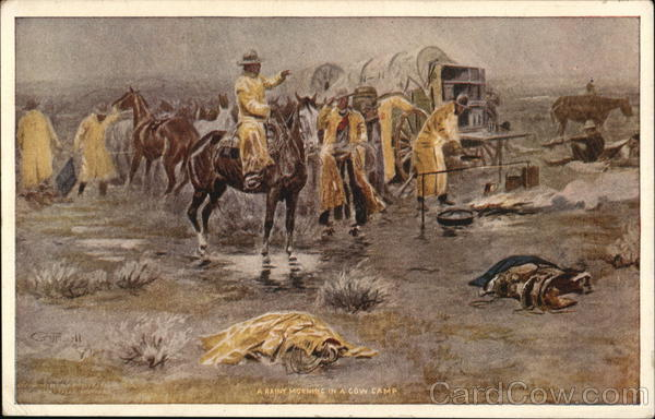 A Rainy Morning in a Cow Camp Charles M. Russell Cowboy Western