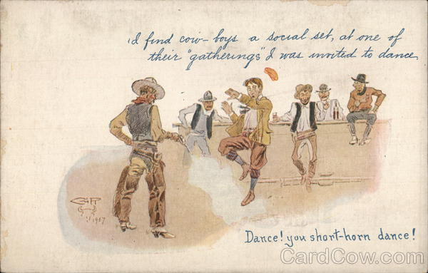 Group of Cowboys - One Shooting at A Man's Feet Charles M. Russell