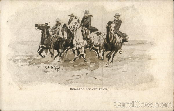 Group of Cowboys Riding Horses Charles M. Russell Cowboy Western