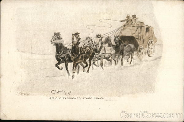 An Old Fashioned Stage Coach Charles M. Russell Cowboy Western