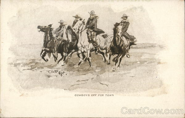Cowboys Off For Town Charles M. Russell Cowboy Western