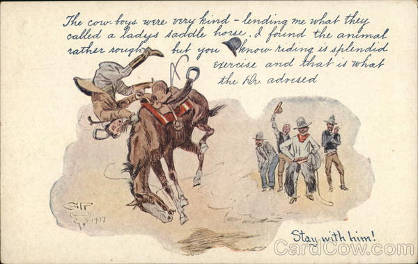 Man Being Flung off of HIs Horse in Mid-Air Charles M. Russell