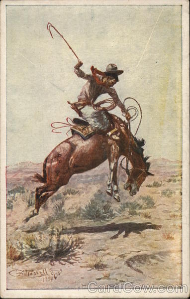 Cowboy on a Bucking Bronco Charles M. Russell Rodeos