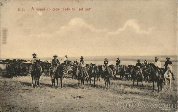 A Round-Up Crew ready to Set Out Cowboy Western